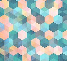 Child's Play 2 - hexagon pattern in soft blue, pink, peach & aqua by micklyn