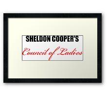 Big Bang Theory - Sheldon Cooper's Council of Ladies Framed Print