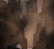 Dune Concept work.  The mountains of Arakis by dnadaviddna