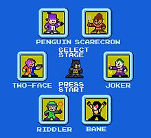 8-bit Batman/Megaman Mash-up Stage Select by groundhog7s