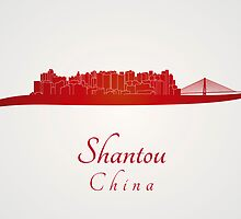 Shantou skyline in red by paulrommer