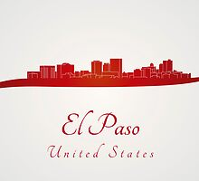 El Paso skyline in red by Pablo Romero