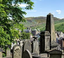 New Calton Cemetery with Holyrood Palace in the background. Edinburgh by Miles Gray