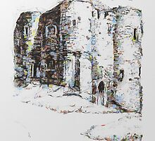 A digital painting of Ypres Tower, Rye, Sussex 1916 by Dennis Melling