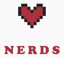 I Heart Nerds Red 8 Bit  by topnerd