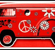 VW Flower Power Camper in red by ©The Creative  Minds