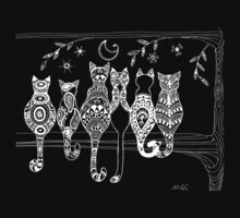 Pop Art Zentangle Cats Lovers Moon for Dark Ts  by wildwildwest