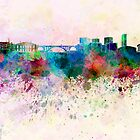 Luxembourg skyline in watercolor background by Pablo Romero