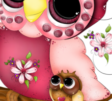 Under Her Wings - Mothers Day Owl Art Sticker