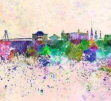 Bratislava skyline in watercolor background by Pablo Romero
