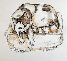 Tabby on Pillow by Carole Chapla