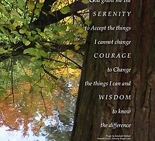 Serenity Prayer Tree and Pond Autumn 2 by serenitygifts