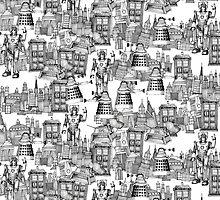 walking doodle toile de jouy black by Sharon Turner