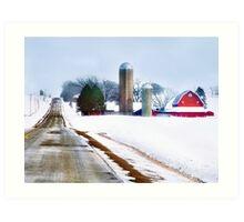 Barn Along a Snowy Road Art Print