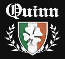 Quinn Family Shamrock Crest (vintage distressed) Kids Clothes