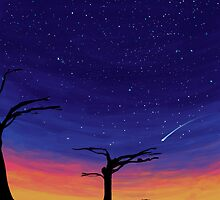 sunset and stars by Pinya
