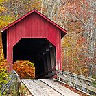 Bean Blossom Covered Bridge in Fall by Kenneth Keifer