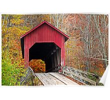 Bean Blossom Covered Bridge in Fall Poster