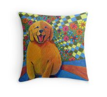 406 - HAPPY PUPPY - DAVE EDWARDS - MIXED MEDIA - 2014 Throw Pillow