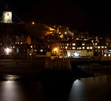 Whitby East Cliff By Night by Rod Johnson