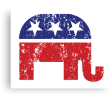 Republican Original Elephant Distressed Canvas Print