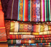 Stacked Linens at the Otavalo Outdoor Market by rhamm