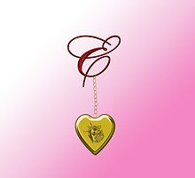 E Golden Heart Locket by Chere Lei