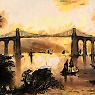 The Menai Suspension Bridge, Wales 1825 by Dennis Melling
