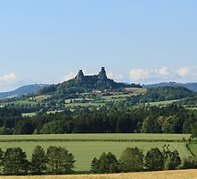 Czech Castle with farmland by Josef Pittner
