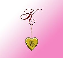 K Golden Heart Locket by Chere Lei