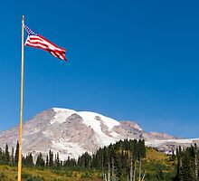 American Flag flies over Paradise by Michael Russell