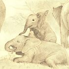 Elephants Family Gathering by littlebearpooky
