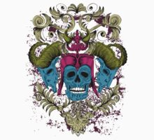 "Skull Teal Horned Floral and Ornate ""Stunning Bones"" by artkrannie"