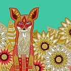 garden fox emerald (card) by Sharon Turner