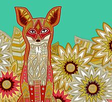 garden fox emerald (card) by Sharon Turner