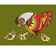 Chicken with Chicks Pop Art Zen Doodle Color Photographic Print