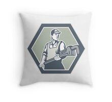 Plumber Holding Plumbing Wrench Retro Throw Pillow