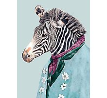 Zebra Blue Photographic Print