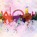Kiev skyline in watercolor background by Pablo Romero