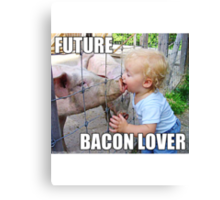 "Viral Meme of Little Boy Kissing Pig ""Future Bacon Lover"" Photograph Canvas Print"