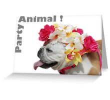 Party Animal!  Bulldog with Flower Bonnet Greeting Card