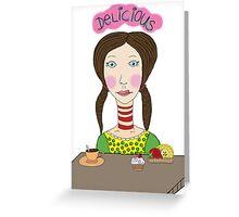 Girl with coffee and cupcake Greeting Card
