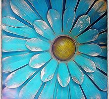 Blue and Gold Metal Daisy II by Roger Passman