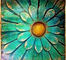 Blue and Gold Metal Daisy I by Roger Passman