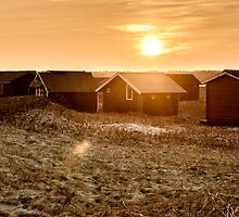 Beach cabins in sunset by Ovation66