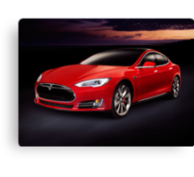 Tesla Model S red luxury electric car outdoors art photo print Canvas Print