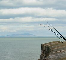 Fishing rods on a sea wall by photoeverywhere