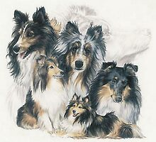 Shetland Sheepdog w/Ghost Image by BarbBarcikKeith