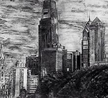 Drawing of the Philadelphia skyline by MadVonD