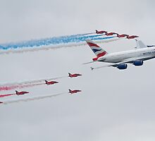Red Arrows and British Airways A380 by Mike Rivett